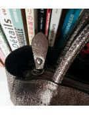 Sac a main bandoulière cuir femme Adèle en cuir métallisé vieil argent