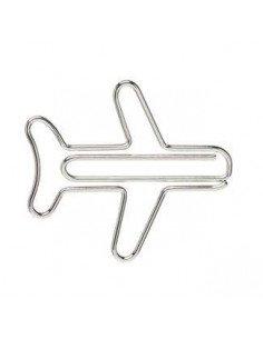 Trombones fantaisie metal argent avion papeterie