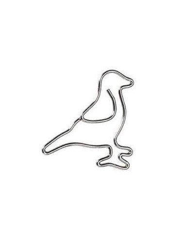 Trombones fantaisie metal argent oiseau papeterie