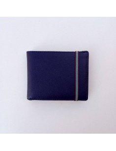 Portefeuille Bleu marine cuir maroquinerie carré royla paris homme femme