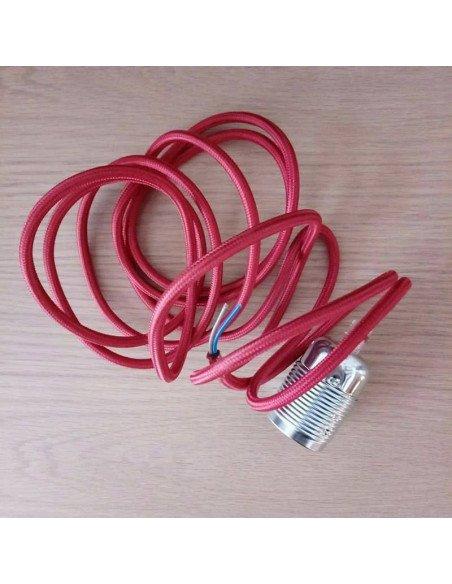 BAZARDELUXE Douille métal et fil textile rouge