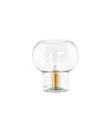 Lampe a poser Mushroom verre transparent laiton house doctor