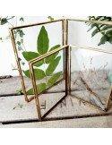 Cadre photo diptyque en verre et laiton