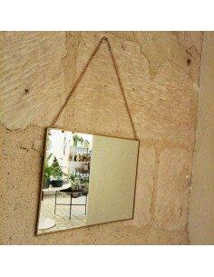 Miroir rectangle à suspendre bord laiton cuivre bazardeluxe