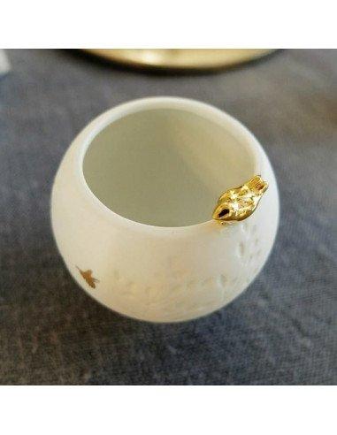Mini photophore oiseau porcelaine blanche rader design decoration