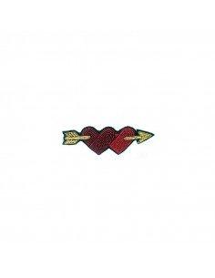 Broche brodée coeurs flêche cupidon macon et lesquoy