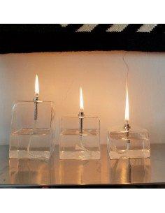 BAZARDELUXE Set de lampes à huile cube en verre transparent