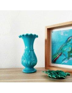 Vase en opaline de foire bleu brocante vintage