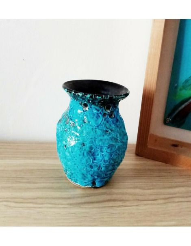 Petit vase en émail soufflé bleu brocante vintage