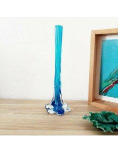 Soliflore en verre bleu brocante vintage