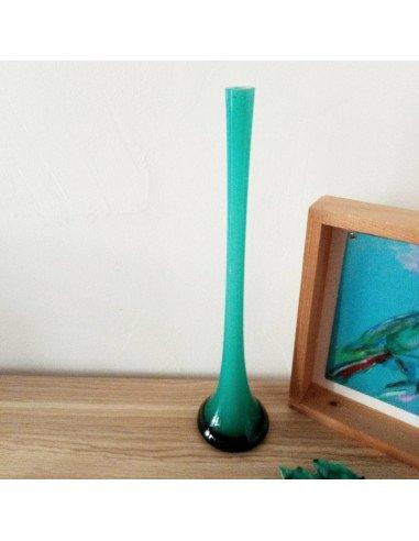 Soliflore en verre vert