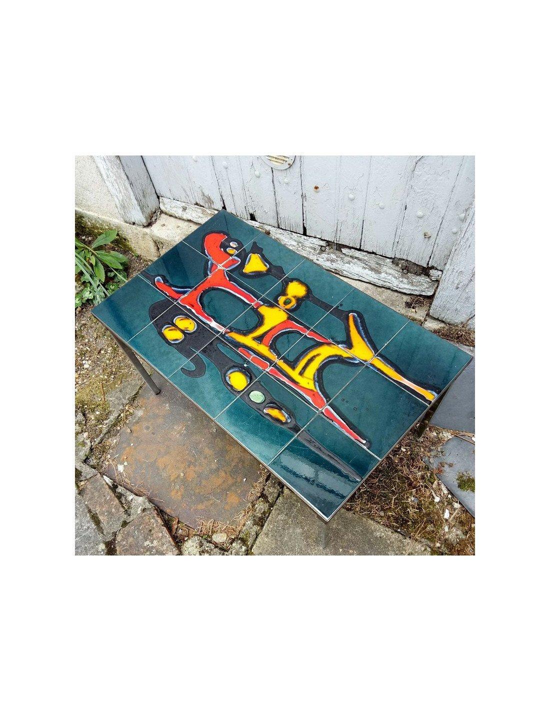Brocante vintage table basse en m tal plateau en carreaux de c ramique d cors rouge - Table salon dessus ceramique ...