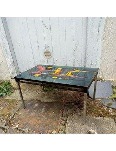 Table basse dessus céramique brocante vintage