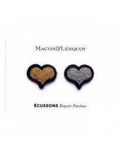 MACON ET LESQUOY Mini écussons Cœur doré + argenté