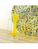 Petit vase jaune en verre coloré brocante vintage
