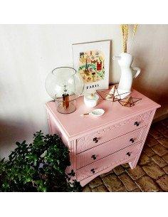 Petite commode années 30 rénovée rose brocante vintage