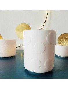 RADER DESIGN Veilleuse porcelaine blancbe et pastille laiton grand modele