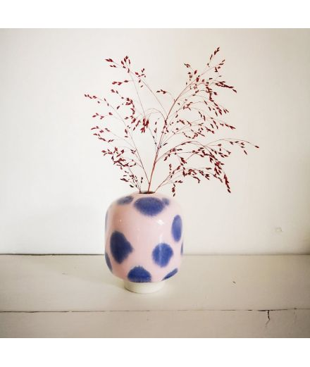 STUDIO ARHOJ Vase Hana Ume crepuscule rose points mauves pm