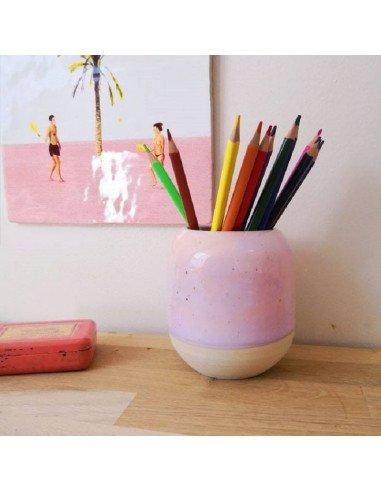 STUDIO ARHOJ design danois céramique copenhague pot à crayons pen holder rose