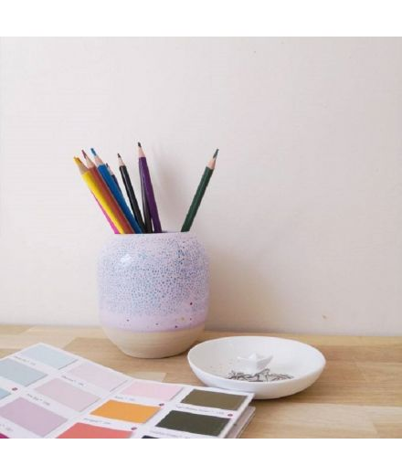 STUDIO ARHOJ design danois céramique copenhague pot à crayons pen holder rose mauve