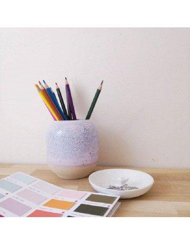 STUDIO ARHOJ design danois céramique copenhague pot à crayons pen holder rose mauve