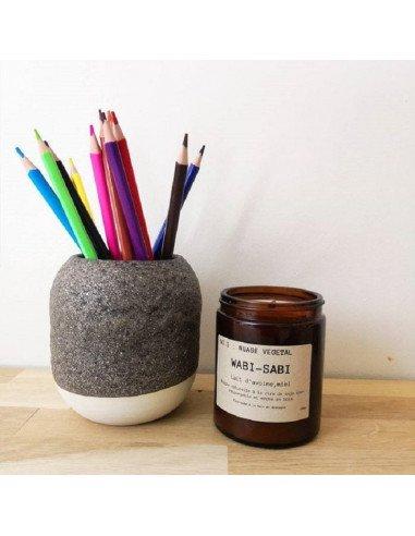 STUDIO ARHOJ design danois céramique copenhague pot à crayons pen holder brun mat