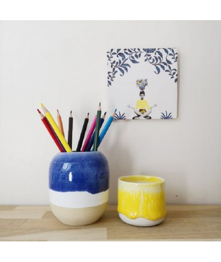 STUDIO ARHOJ design danois céramique copenhague pot à crayons pen holder marine bleu et blanc
