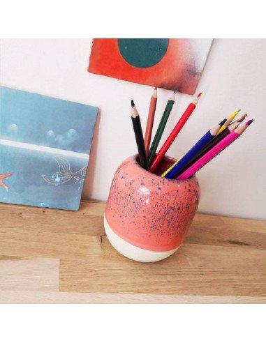 STUDIO ARHOJ design danois céramique copenhague pot à crayons pen holder rose saumon