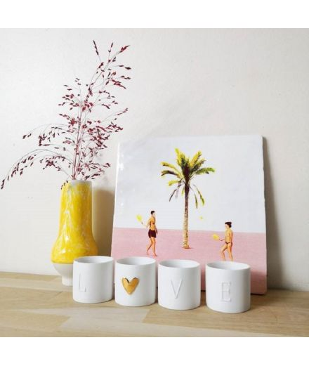 Rader design porcelaine blanche mate set mini veilleuses love