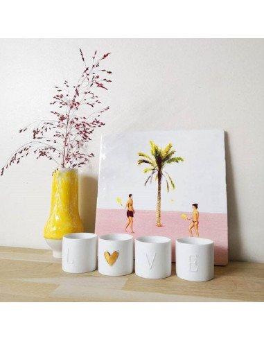 Rader design porcelaine blanche mate set mini veilleuses love