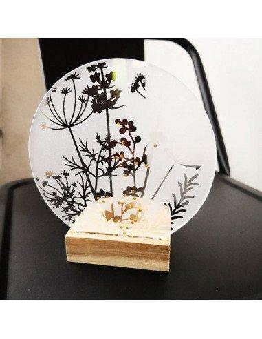 Rader design veilleuse verre sérigraphiée feuillages