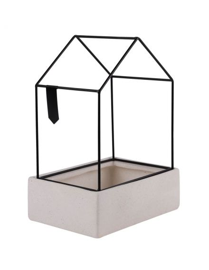 Rader design cache pot maison garden city céramique blanche métal noir