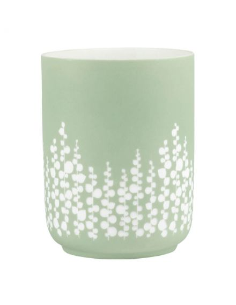RÄDER DESIGN Veilleuse en porcelaine mate verte gravé feuillages