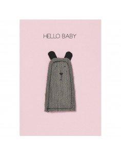 RÄDER DESIGN Carte naissance Ours Hello baby papier textile