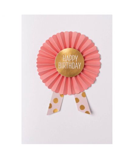 RÄDER DESIGN Carte d'anniversaire faveur noeud plissé Happy birthday orange