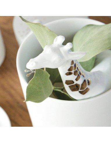 RÄDER DESIGN Vase girafe porcelaine blanche or