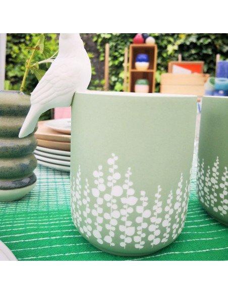 RÄDER DESIGN Veilleuse porcelaine gravé feuillages