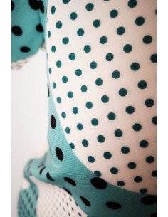 T shirt femme imprimé points noirs sur fond turquoise et blanc boutonné dos