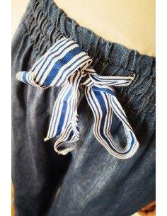 Pantalon femme long et large denim bleu froncé à la taille