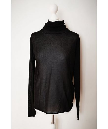 Pull col montant noir maille lurex manches longues