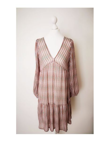 femme robe midi manches longues imprimée rose rouge seventies voile polyester doublée