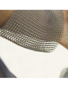 PASCALE LION Bracelet manchette souple metal acier cotte de maille couleur argent