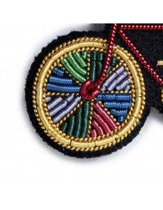 MACON ET LESQUOY paris bijoux Broche brodée vélo paradise multicolore