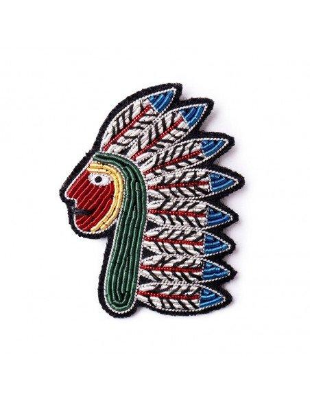 MACON ET LESQUOY Broche Brodée Native american