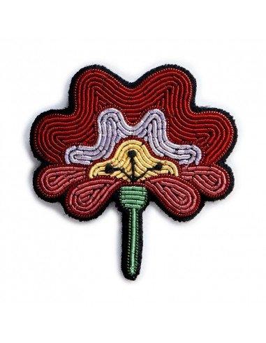 MACON ET LESQUOY paris bijoux Broche Brodée fleur rose ancienne