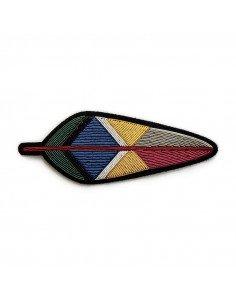 MACON ET LESQUOY paris bijoux très grande Broche Brodée plume indienne iroquoise