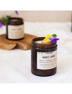 WABI-SABI Bougie Provensa éco-responsable à la cire de soja mèche en bois jasmin vanille feuille de figuier made in France
