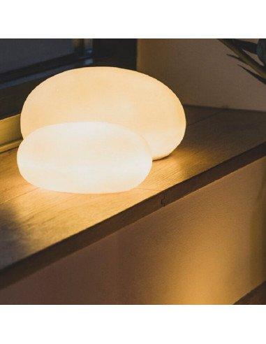 RÄDER DESIGN Lampe veilleuse galet en porcelaine blanche PM