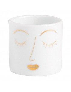 RÄDER DESIGN Veilleuse visage porcelaine blanche or