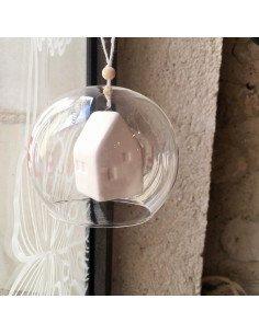 RÄDER DESIGN Boule de noël en verre Maison porcelaine blanche
